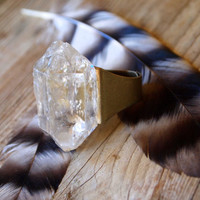 Large Raw Quartz Crystal Ring Adjustable