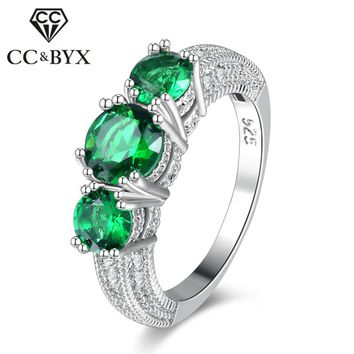 CC Bijoux Rings For Women Green Round Stone Charms Unique Wedding Jewelry Ring Bridal Engagement Femme Accessories CC802