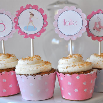Ice Skating Party Cupcake Toppers