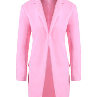Pink Notched Collar Long Sleeve Woolen Coat