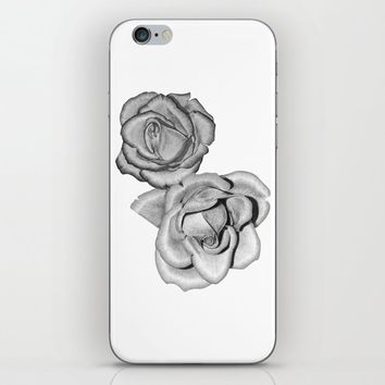 Grey Roses iPhone Skin by drawingsbylam
