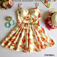 Diana Floral Retro Bustier Dress with Adjustable Straps - Size S/M - Smoky Mountain Boutique