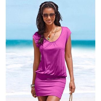 Women Sexy Dress Summer Short Sleeve Casual Sheath Bodycon Dresses Party Cocktail Short Mini Tube Beach Dress 2 Colors