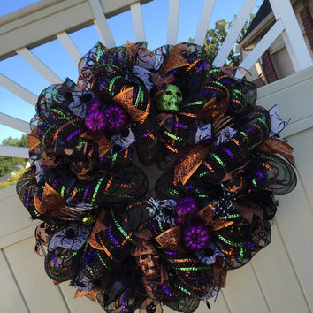 Deco Mesh Halloween Wreath, Halloween Decor, Spider Skull Pumpkin Wreath, Halloween Decoration