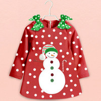 Cute style New Baby Girls Christmas dot Dress Cotton children Dresses Christmas Red color 2016 kid's Clothing High quality