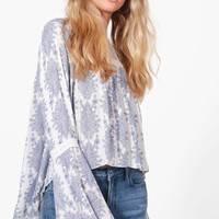 Ellie Printed Crochet Trim Blouse | Boohoo