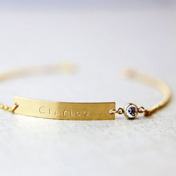 Nameplate Bracelet with CZ charm
