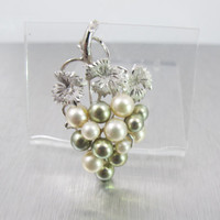 Sterling Pearl Grape Cluster Brooch, Akoya White Gray Pearls, Wedding Bridal Pearl Jewelry, Mother Of The Bride, Pearl Grape Cluster Jewelry