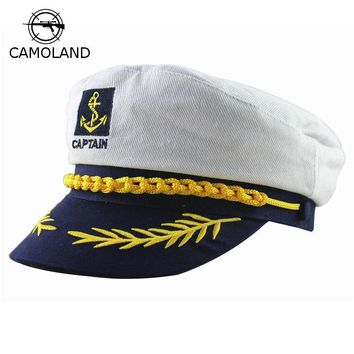 Adult Captain Costume Boat Yacht Ship Sailor Navy Captain Hat Party Cosplay Cap Sea Boating Nautical Fancy Dress Drop