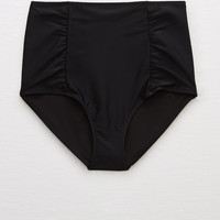 Aerie High Waisted Bikini Bottom, True Black