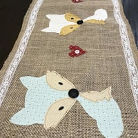 Burlap Table Runner, Modern Rustic Home, Wedding Table Runner, Farmhouse Runner, Bridal Shower gift, wedding gift, woodland creatures, foxes