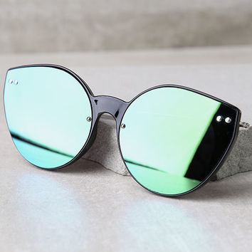 Spitfire Alpha 2 Black and Green Mirrored Sunglasses