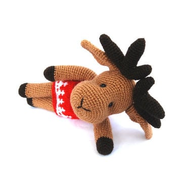 crocheted reindeer, amigurumi brown reindeer christmas gift stuffed reindeer brown red gift for children, plushie, cute crictmas animal doll