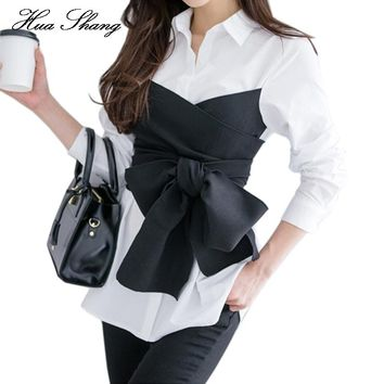 2017 Summer Korean Fashion Tie Shirt Blouse Female Black Bow Long Sleeve White Shirt OL Lady Office Shirt Plus Size Women Tops