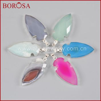 BOROSA Mix Colors New Arrival 925 Sterling Silver Arrowhead Natural Multi-Kind Druzy Stones Pendant Bead for Necklace SS130