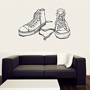 Wall Decal Vinyl Sticker Decals Art Decor Sneakers Hippster Shoes Boots Couple Heart Kids Children Love Family Bedroom Modern Fashion (r405)