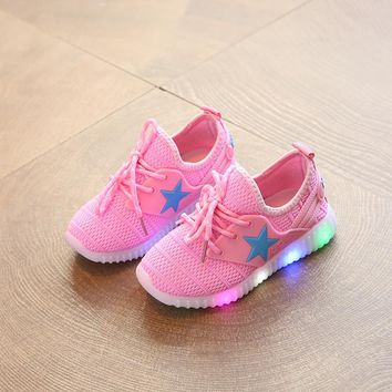 Children's Casual Mesh Light up Shoes Led Baby's Girls Hip Hop Shoes Toddler Anti-Slip Shoes Boys Kids Tenis Glowing Sneakers