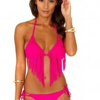 Missguided - Trona Halterneck Fringe Bikini In Hot Pink
