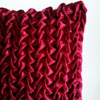 Velvet Red Decorative Throw Pillows,Maroon Textured Pillows,Canadian Smocking,Holiday Pillows,Couch Pillows,16x16, 18x18,12x16 Throw Pillows