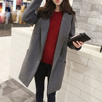 New Double Breasted Lapel Long Woolen Coat