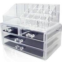 Clear Acrylic Make Up Case Cosmetic Organizer Lipstick Brush Holder Drawer