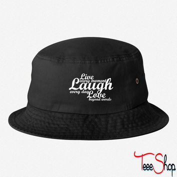 live laugh love quote bucket hat