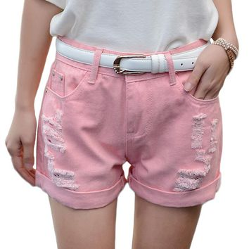 Summer White Pink Cute Denim Shorts Female Loose Plus Size Sexy Hole Shorts Korean Style Casual Crimping Jeans Shorts For Women