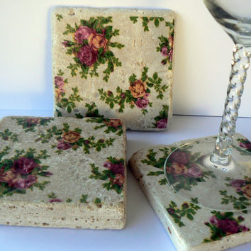 Coasters Old Country Rose Shabby Chic Natural Stone Tile 4x4 Drink Coaster Set of 4