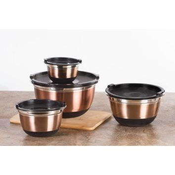 8 Piece Non Slip Copper Stainless Mixing Bowl Set