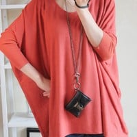 Women Euro Style ZARA New Very Loose Batwings Sleeve Knitting Red Blouse One Size@II1037r $16.99 only in eFexcity.com.