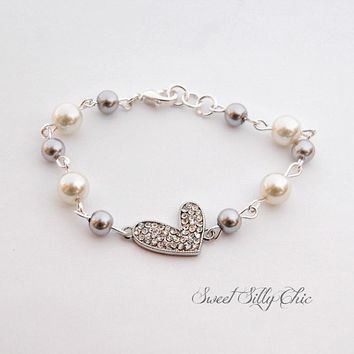 Rhinestone Heart and Pearl Bracelet, Silver Heart Charm, Grey and Ivory Pearl, Heart Jewelry, Valentines Day
