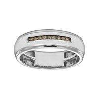 1/10 Carat T.W. Champagne Diamond Sterling Silver Wedding Band - Men (Brown)