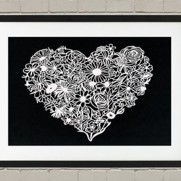 Paper Cut Art - Papercutting - Floral heart Papercut - Botanic Art - Wedding Present or First Anniversary Gift - OOAK