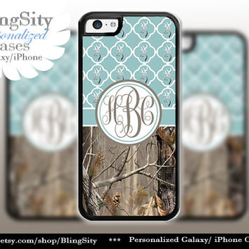 Monogram Iphone 5C case Browning iPhone 5s iPhone 4 case Ipod 4 5 Touch case Real Tree Camo Blue Quatrefoil Personalized Country Girl
