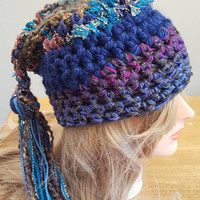 Crochet hippie beanie braid hat. Made by Bead Gs on ETSY.  Ladies Size.