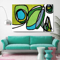 """Vibrant Colorful Abstract-0-22-6. Mid-Century Modern Green Canvas Art Print, Mid Century Modern Canvas Art Print up to 72"""" by Irena Orlov"""