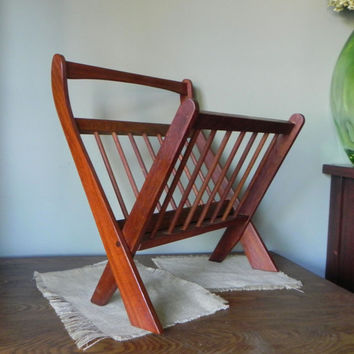 Vintage folding wood magazine book rack holder  - teak slatted