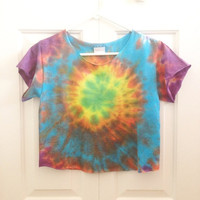 Unique Tie Dye Swirl Crop Top Retro Custom by LivingYoungDesigns