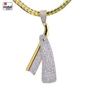 Jewelry Kay style Men's Gold Toned CZ Barber Razor Pendant Miami Cuban Chain Necklace BCH 15107 G