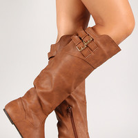 Double Buckle Hidden Wedge Knee High Riding Boot