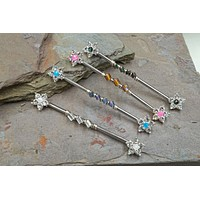 Opal Flower Industrial Barbell