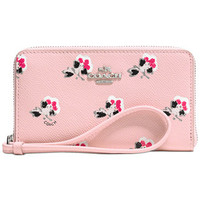 COACH EAST/WEST UNIVERSAL ZIP CASE IN FLORAL CROSSGRAIN LEATHER