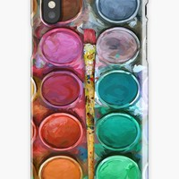 'Watercolor Rainbow Flow Abstraction palette' iPhone Case/Skin by Galih Sanjaya Kusuma wiwaha