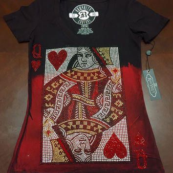Rawyalty Women's Queen of Hearts 2 Tone Red/Black Tee