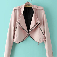 Pink Belt Collar Long Sleeve Double Placket Short Jacket