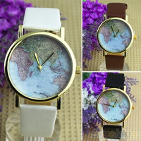 Retro World Map Watch Fashion Leather Alloy Womens Analog Quartz Wrist Watch = 1956601732