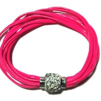 Hot pink multi strands leather bracelet with pave crystal closure