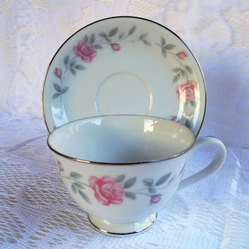 Royal Cameo Eleanor Pattern, 3525, Pink Rose Gray Leaf Band, Footed Cup & Saucer, Fine China, Japan, Shabby Chic