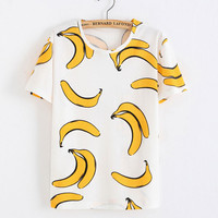 Banana Printed Cotton T-Shirt In White