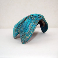 50s Hat Vintage Asian Brocade Turquoise Cocktail by voguevintage